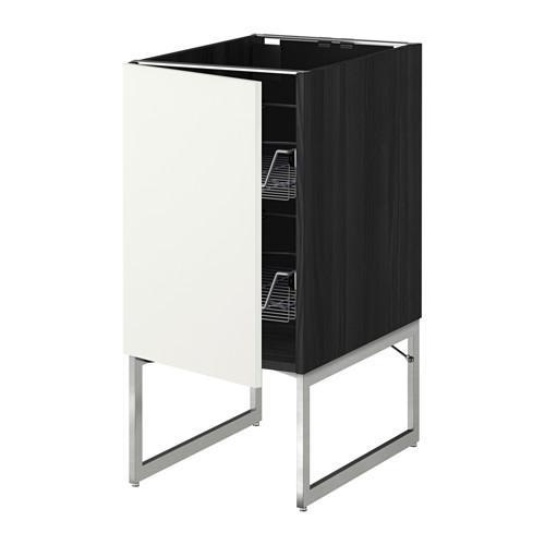 МЕТОД Напольный шкаф с проволочн ящиками - 40x60x60 см, Хэггеби белый, под дерево черный