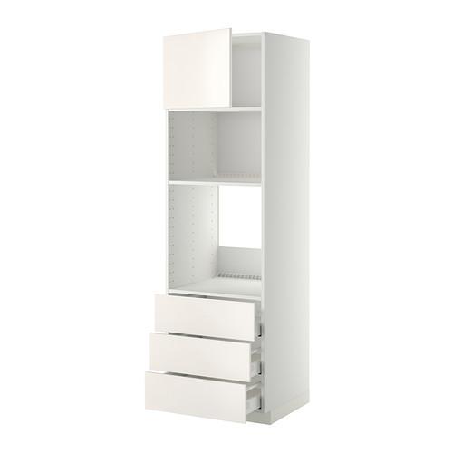 МЕТОД / МАКСИМЕРА Высок шкаф д/духовки/СВЧ/дверца/3ящ - 60x60x200 см, Веддинге белый, белый