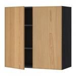 МЕТОД Навесной шкаф с полками/2дверцы - 80x80 см, Экестад дуб, под дерево черный