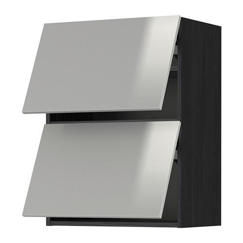 МЕТОД Навесной шкаф/2 дверцы, горизонтал - 60x80 см, Гревста нержавеющ сталь, под дерево черный