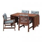 ÄPPLARÖ стол+4 кресла, д/сада коричневая морилка/Иттерон синий