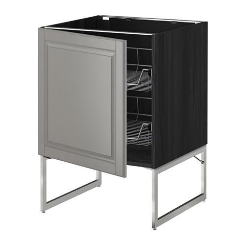 МЕТОД Напольный шкаф с проволочн ящиками - 60x60x60 см, Будбин серый, под дерево черный