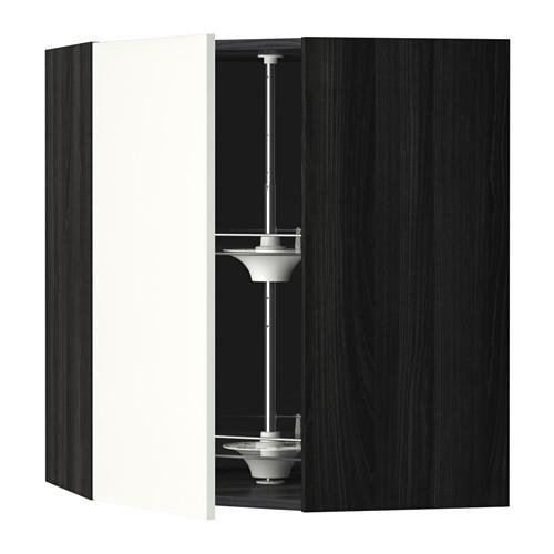 МЕТОД Угл нвсн шкф с вращающ секц - 68x80 см, Хэггеби белый, под дерево черный