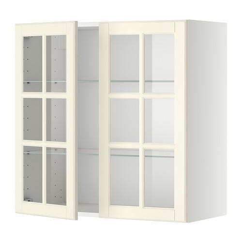method wall cabinet with shelves 2 glass white budbin. Black Bedroom Furniture Sets. Home Design Ideas