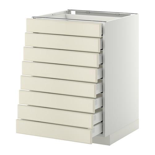 МЕТОД / МАКСИМЕРА Наполн шкаф 8 фронт/8 низк ящиков - 60x60 см, Будбин белый с оттенком, белый