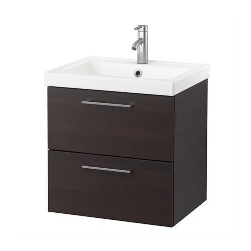 GODMORGON / armoire Odensvik éviers avec tiroirs 2 - noir-brun
