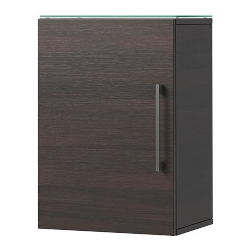 GODMORGON Wall cabinet with 1 door - black-brown