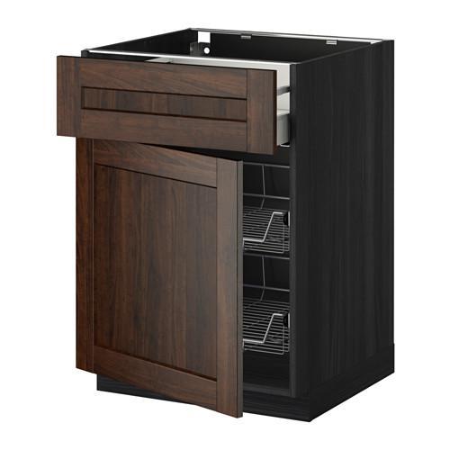 МЕТОД / МАКСИМЕРА Напольн шкаф с пров корз/ящ/дверью - 60x60 см, Эдсерум под дерево коричневый, под дерево черный
