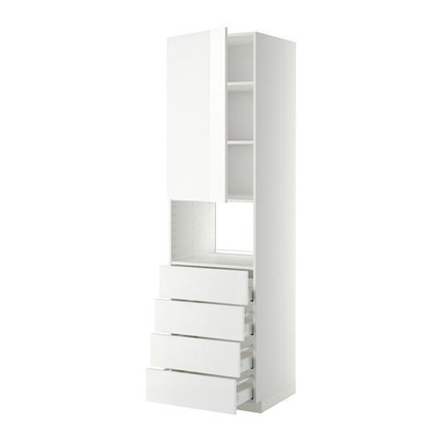 МЕТОД / МАКСИМЕРА Высок шкаф д/духовки/дверца/4ящика - 60x60x220 см, Рингульт глянцевый белый, белый