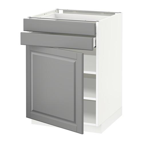 МЕТОД / МАКСИМЕРА Напольный шкаф с дверцей/2 ящиками - 60x60 см, Будбин серый, белый