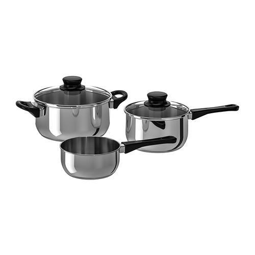 ANNONS набор кухонной посуды, 3 предметa стекло/нержавеющ сталь
