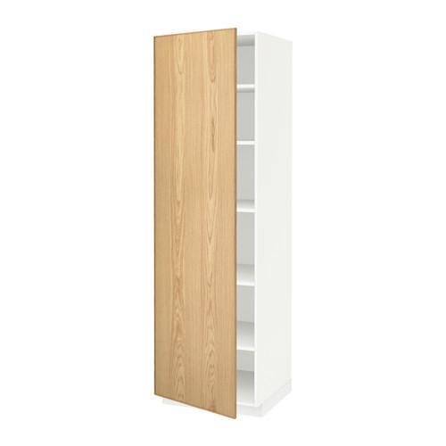 МЕТОД Высок шкаф с полками - 60x60x200 см, Экестад дуб, белый