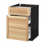 МЕТОД / МАКСИМЕРА Напольн шкаф/выдвижн секц/ящик - под дерево черный, Торхэмн естественный ясень, 60x60 см