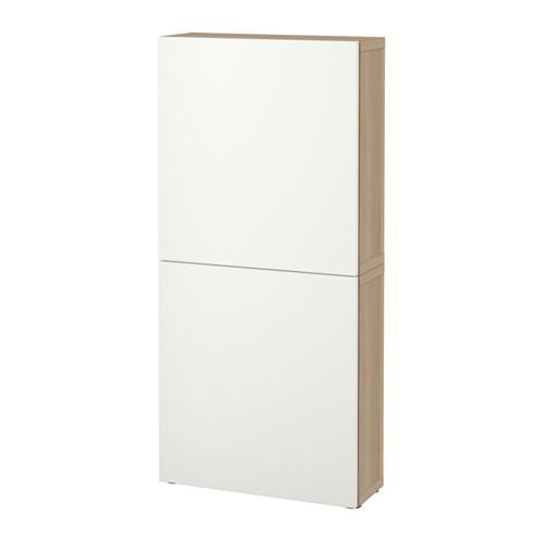 БЕСТО Навесной шкаф с 2 дверями - под беленый дуб/Лаппвикен белый