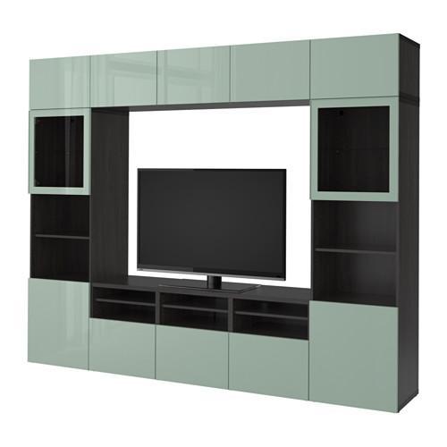besto tv schrank kombiniert glast ren schwarz braun selsviken gl nzend graugr nes licht. Black Bedroom Furniture Sets. Home Design Ideas