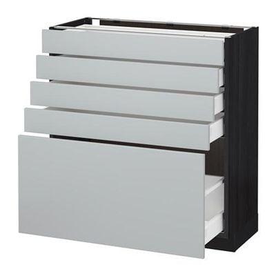МЕТОД / МАКСИМЕРА Напольный шкаф с 5 ящиками - 80x37 см, Веддинге серый, под дерево черный