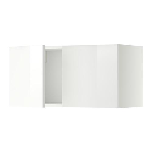 МЕТОД Навесной шкаф с 2 дверями - Рингульт глянцевый белый, белый