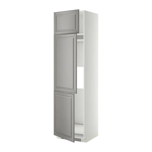 МЕТОД Выс шкаф для хол/мороз с 3 дверями - 60x60x220 см, Будбин серый, белый