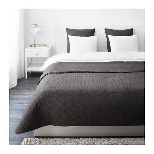 АЛИНА Покрывало и 2 чехла на подушку - темно-серый, 260x280/65x65 см