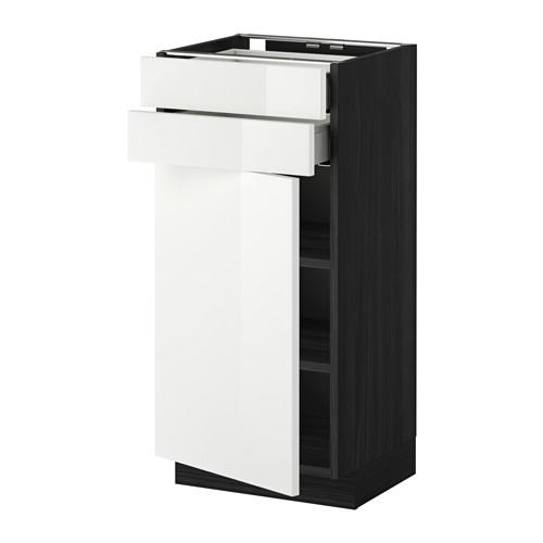 МЕТОД / МАКСИМЕРА Напольный шкаф с дверцей/2 ящиками - 40x37 см, Рингульт глянцевый белый, под дерево черный