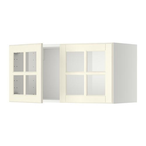 МЕТОД Навесной шкаф с 2 стеклянн дверями - белый, Будбин белый с оттенком
