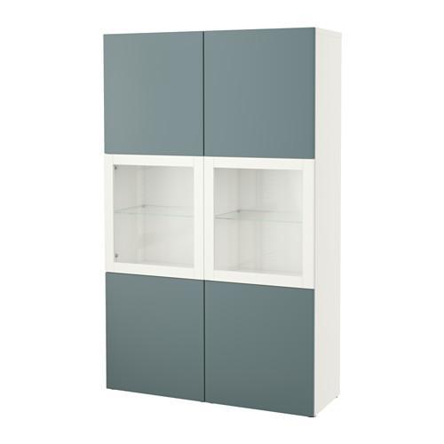 БЕСТО Комбинация д/хранения+стекл дверц - белый/Вальвикен серо-бирюзовый, прозрачное стекло