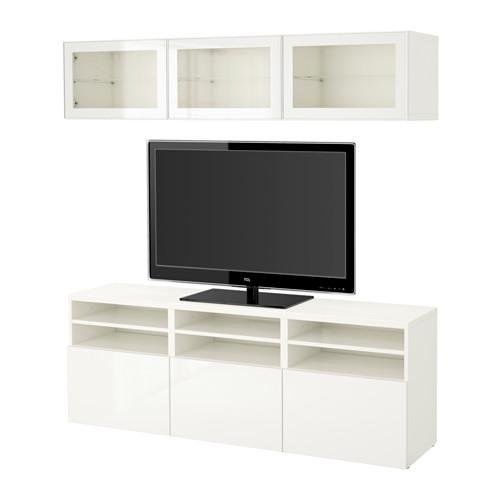 bessto schrank f r tv kombiniert glast ren wei selsviken gl nzend wei transparent. Black Bedroom Furniture Sets. Home Design Ideas