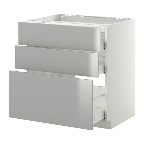 МЕТОД / МАКСИМЕРА Напольн шкаф/3фронт пнл/3ящика - 80x60 см, Гревста нержавеющ сталь, белый
