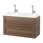GODMORGON / EDEBOVIKEN cabinet sinks with 2 drawers - walnut effect