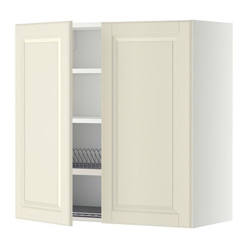 МЕТОД Навесной шкаф с посуд суш/2 дврц - 80x80 см, Будбин белый с оттенком, белый