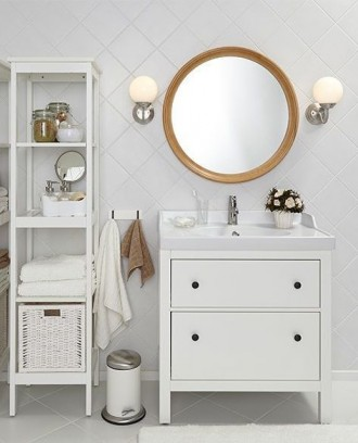 Bathroom in white with IKEA HEMNES