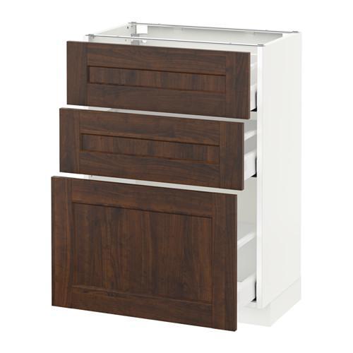 МЕТОД / МАКСИМЕРА Напольный шкаф с 3 ящиками - 60x37 см, Эдсерум под дерево коричневый, белый