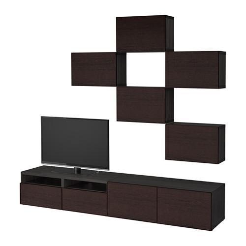Besta Combinaison Meuble Tv Inviken Noir Brun Noir Brun Guidant Le Tiroir Doucement Fermer