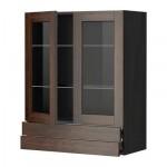 МЕТОД / ФОРВАРА Навесной шкаф/2 стек дв/2 ящика - 80x100 см, Эдсерум под дерево коричневый, под дерево черный