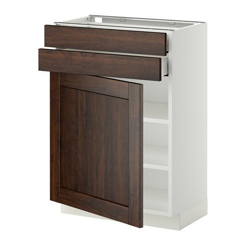 МЕТОД / МАКСИМЕРА Напольный шкаф с дверцей/2 ящиками - 60x37 см, Эдсерум под дерево коричневый, белый