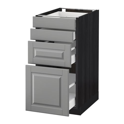 МЕТОД / МАКСИМЕРА Напольн шкаф 4 фронт панели/4 ящика - 40x60 см, Будбин серый, под дерево черный