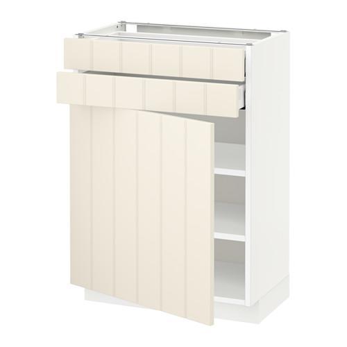 МЕТОД / МАКСИМЕРА Напольный шкаф с дверцей/2 ящиками - 60x37 см, Хитарп белый с оттенком, белый