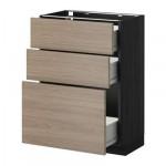 MÉTODO gabinete / Base FORVARA con cajones 3 - gris claro 60x37 cm Brokhult nuez efecto, madera negro