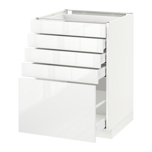МЕТОД / МАКСИМЕРА Напольный шкаф с 5 ящиками - 60x60 см, Рингульт глянцевый белый, белый
