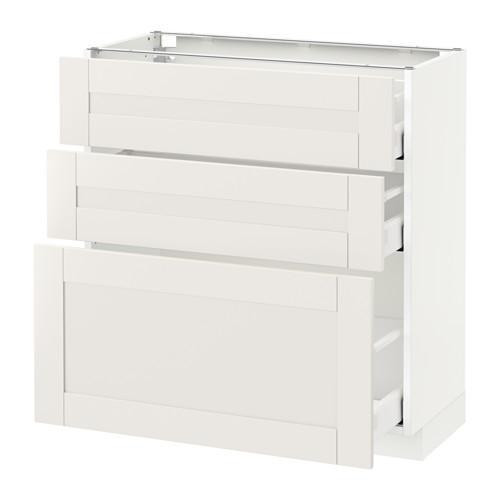 МЕТОД / МАКСИМЕРА Напольный шкаф с 3 ящиками - 80x37 см, Сэведаль белый, белый