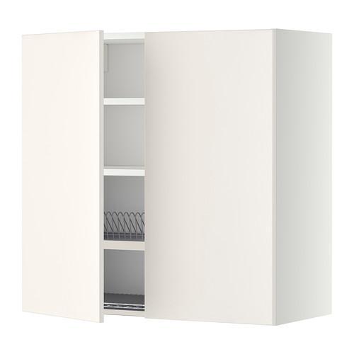 МЕТОД Навесной шкаф с посуд суш/2 дврц - 80x80 см, Веддинге белый, белый