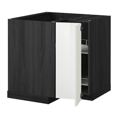 МЕТОД Угл напольн шкаф с вращающ секц - Рингульт глянцевый белый, под дерево черный
