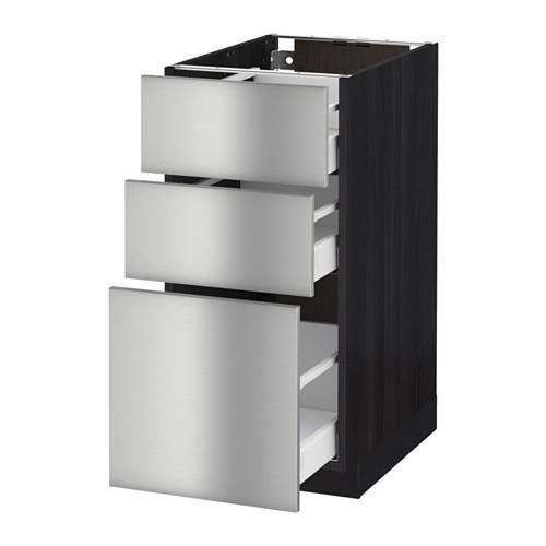 МЕТОД / МАКСИМЕРА Напольный шкаф с 3 ящиками - 40x60 см, Гревста нержавеющ сталь, под дерево черный