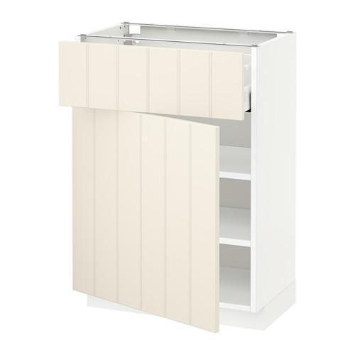 МЕТОД / МАКСИМЕРА Напольный шкаф с ящиком/дверью - 60x37 см, Хитарп белый с оттенком, белый