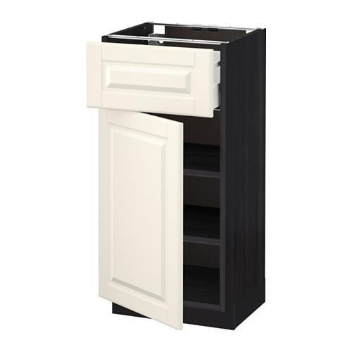 МЕТОД / МАКСИМЕРА Напольный шкаф с ящиком/дверью - 40x37 см, Будбин белый с оттенком, под дерево черный