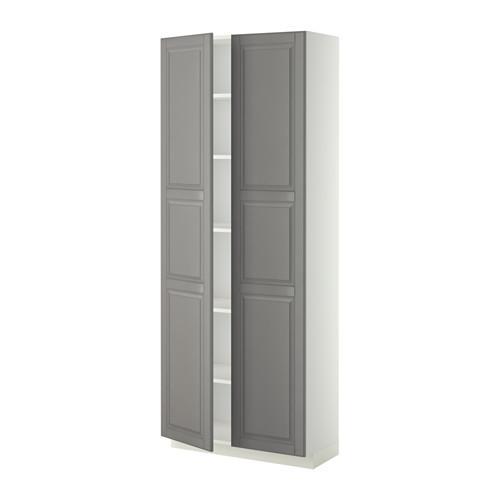 МЕТОД Высок шкаф с полками - 80x37x200 см, Будбин серый, белый