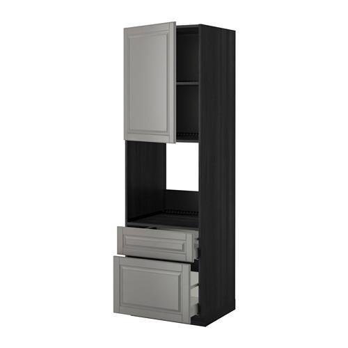 МЕТОД / МАКСИМЕРА Высок шкаф д духов+дверь/2 ящика - 60x60x200 см, Будбин серый, под дерево черный