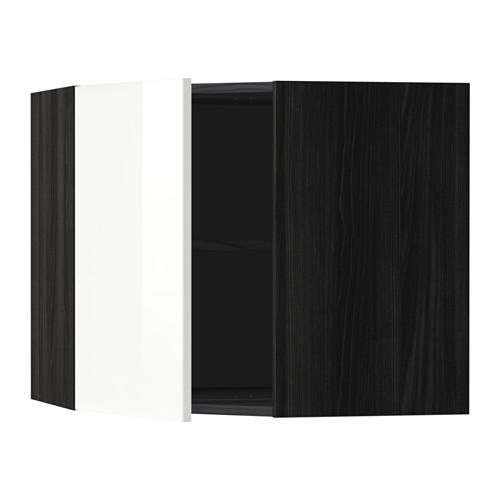 МЕТОД Угловой навесной шкаф с полками - 68x60 см, Рингульт глянцевый белый, под дерево черный