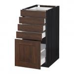 МЕТОД / МАКСИМЕРА Напольный шкаф с 5 ящиками - 40x60 см, Эдсерум под дерево коричневый, под дерево черный