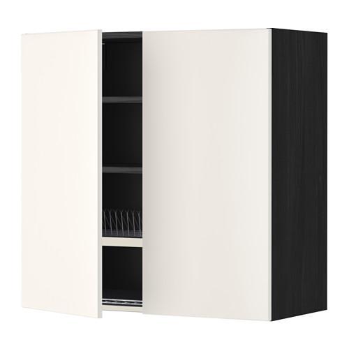 МЕТОД Навесной шкаф с посуд суш/2 дврц - 80x80 см, Веддинге белый, под дерево черный